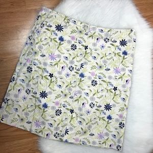 J Jill Live In Chino10 Cream Floral Print Skirt